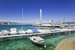 Lxurious boats and yachts anchored in Lake Geneva, Switzerland. GENEVA–JUNE 25. Luxurious boats and yachts anchored on June 25, 2011 in Lake Geneva. A stock photos