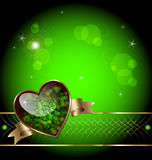 Lxurious  romantic background. Illustration of luxurious template background with green heart, gold embellishment and stars and flare elements Stock Photography