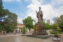 Ly Thai To statue in park near Sword lake in Hanoi, Vietnam. Ly Thai To is best known for relocating the imperial capital from Hoa Lu to Thang Long (modern day royalty free stock photo