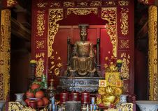 Ly Nhan Tong altar, upper floor rear building, Fifth Couryard, Temple of Literature, Hanoi, Vietnam. Pictured is the Ly Nhan Tong altar in the upper floor of the royalty free stock photo