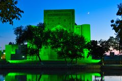 Lyabi Hauz at night is located in the historical part of Bukhara,. royalty free stock images