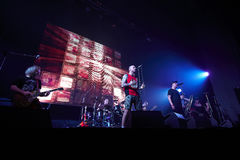 Lyapis Trubetskoy performing live at stadium. LVIV, UKRAINE - APRIL 06, 2014: Belarusian rock band Lyapis Trubetskoy performing live at stadium on April 06, 2014 Royalty Free Stock Images