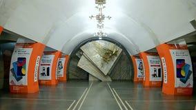 Lybidska subway station in Kiev, Ukraine,. KIEV - DEC 20, 2015: Lybidska subway station on December 20, 2015 in Kiev, Ukraine. It was opened as part of the stock video