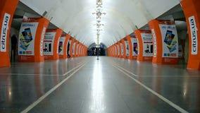 Lybidska subway station in Kiev, Ukraine,. KIEV - DEC 20, 2015: Lybidska subway station on December 20, 2015 in Kiev, Ukraine. It was opened as part of the stock footage