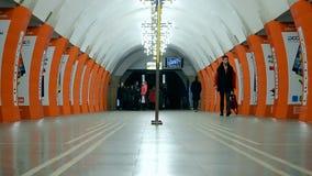 Lybidska subway station in Kiev, Ukraine,. KIEV - DEC 20, 2015: Lybidska subway station on December 20, 2015 in Kiev, Ukraine. It was opened as part of the stock video footage