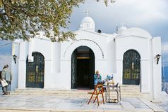 Lycabettus登上的,雅典圣乔治教堂 免版税库存照片