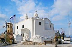 Lycabettus登上的,雅典白色教堂 库存图片