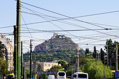Lycabettus in Athens, view from the street royalty free stock images