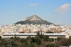 Lycabettus Hill and Ancient Marketplace Royalty Free Stock Photos
