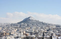 Lycabettus hill during winter blizzard Stock Photo