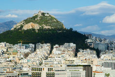 Lycabettus Mountain and the downtown sector of Athens Stock Photography