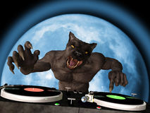 Lycan DJ. A Lycan werewolf is in the House and mixing up some Halloween horror. Turntables with vinyl albums vector illustration