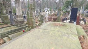 Lychakiv Cemetery Lviv. Polish Cemetery in Lviv HD. Shooting With the Aircraft Quadrocopter.camera Flies Over the Graves in the Cemetery of the Lviv. Camera stock video footage