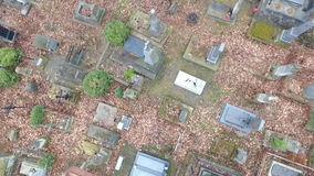 Lychakiv Cemetery Lviv. Polish Cemetery in Lviv HD. Shooting With the Aircraft Quadrocopter.camera Flies Over the Graves in the Cemetery of the Lviv. Camera stock footage