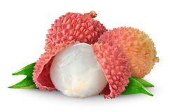 Isolated lychee fruits stock images