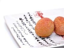 Lychee auf einer japanischen Platte stockbild
