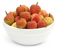 Lychee in a bowl Stock Photos