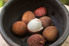 Lychee on the bowl. Royalty Free Stock Photo