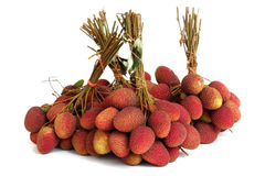 Lychee. bunch of fresh lychees isolated on white Royalty Free Stock Photos