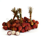Lychee. bunch of fresh lychees isolated on white Stock Photography