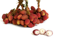 Lychee. bunch of fresh lychees isolated on white Royalty Free Stock Images