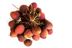 Lychee. bunch of fresh lychees isolated on white Royalty Free Stock Photo