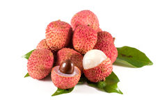 Lychee. Fresh lychees. Isolated on white Stock Images