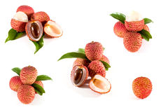 Lychee. Fresh lychees. Isolated on white Stock Photo