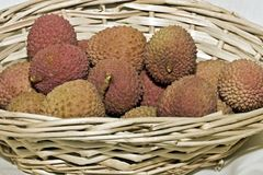 Lychee in basket Royalty Free Stock Photography