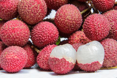 Lychee. The lychee fruit with white back ground Royalty Free Stock Photos
