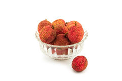 Lychee in a glass bowl Stock Photos
