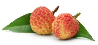 Lychee with green leaf Royalty Free Stock Images
