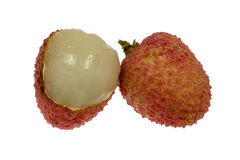 Lychee. Isolated Lychee with opened jacket for view inside Royalty Free Stock Images