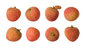Lychee Isolated on white Stock Photos