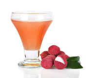 Lychee juice. With lychees isolated on white background Royalty Free Stock Photo