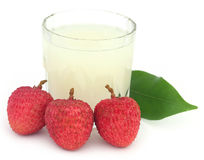 Lychee juice with fruits Stock Photos