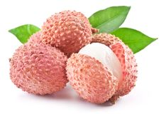 Lychee with leaves Royalty Free Stock Photography