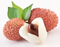 Lychee with leaves Stock Photo