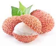 Lychee with leaves. stock images