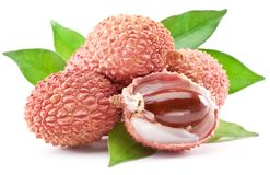 Lychee with leaves. Royalty Free Stock Photos