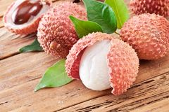 Lychee with leaves. Royalty Free Stock Images