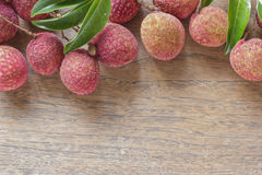 Lychee with leaves . Stock Photo