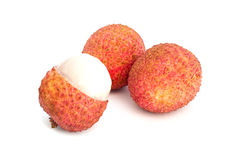 Lychee (Litchi chinensis) Against On White Background Royalty Free Stock Photography