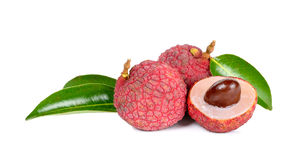 Lychee or Litchi isolated on the white. Background Royalty Free Stock Photos