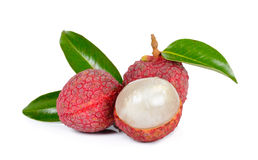 Lychee or Litchi isolated on the white background.  Stock Photo