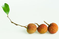 Lychees with green leaf. Three fresh lychees with green leaf on white background Royalty Free Stock Images