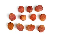 Lychee over white. Group of lychees isolated over white Stock Image
