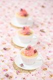 Lychee Rose Cupcakes Royalty Free Stock Image