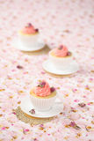 Lychee Rose Cupcakes Stock Photography