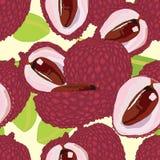 Lychee seamless pattern Stock Photo